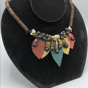 Jewelry - Leaf Necklace Handmade wood wooden beads